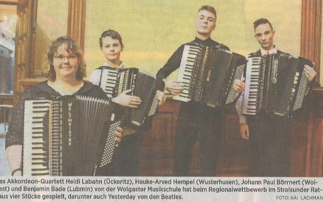 Wolgaster Akkordeonspieler für Landeswettbewerb ausgewählt